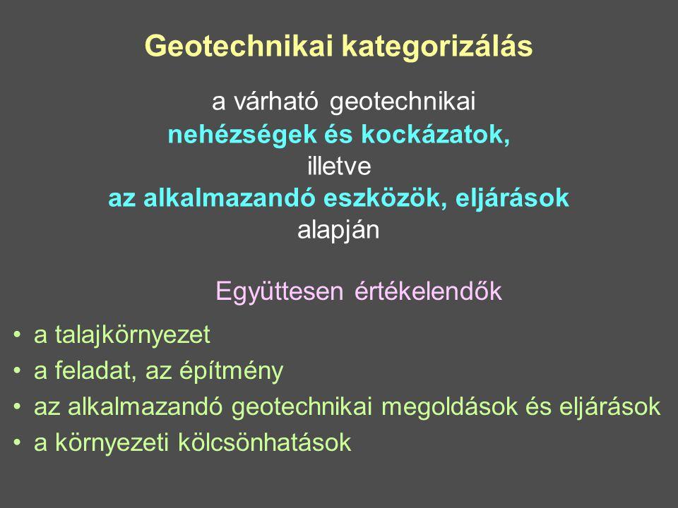 Geotechnikai kategorizálás a várható geotechnikai nehézségek és kockázatok, illetve az alkalmazandó eszközök, eljárások alapján Együttesen értékelendők a talajkörnyezet a feladat, az építmény az alkalmazandó geotechnikai megoldások és eljárások a környezeti kölcsönhatások