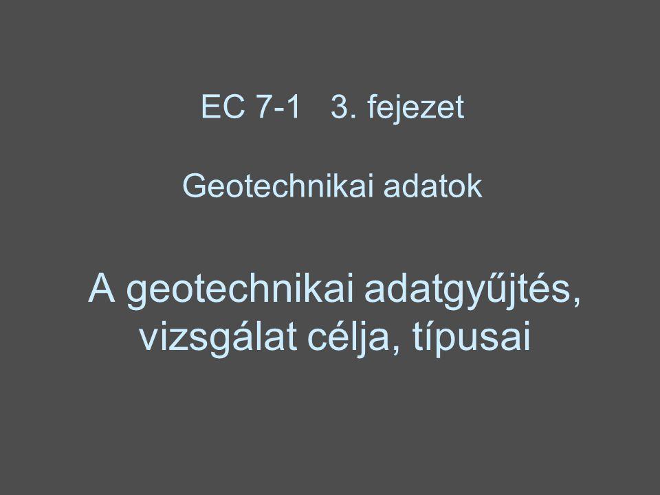 A geotechnikai adatgyűjtés, vizsgálat célja, típusai EC 7-1 3. fejezet Geotechnikai adatok