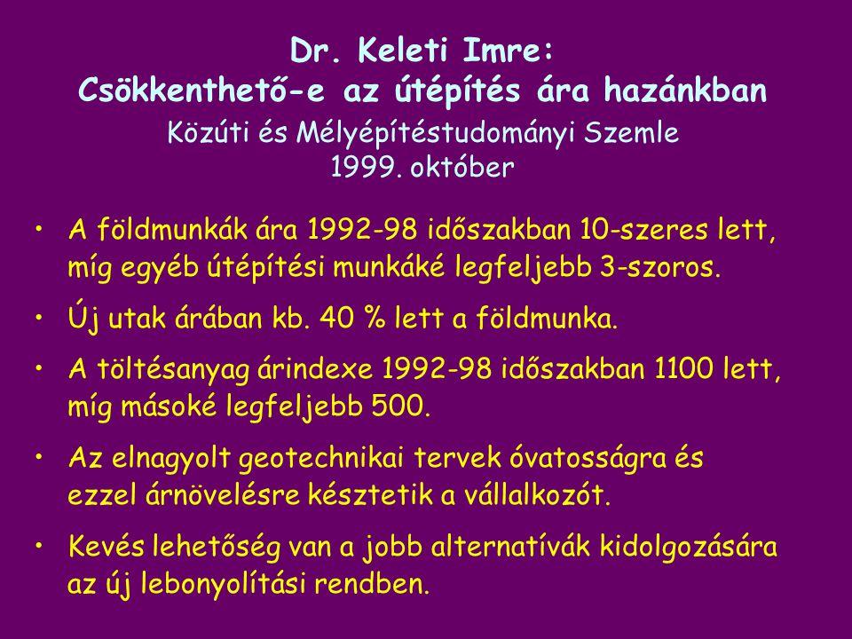 Dr. Keleti Imre: Csökkenthető-e az útépítés ára hazánkban Közúti és Mélyépítéstudományi Szemle 1999. október A földmunkák ára 1992-98 időszakban 10-sz