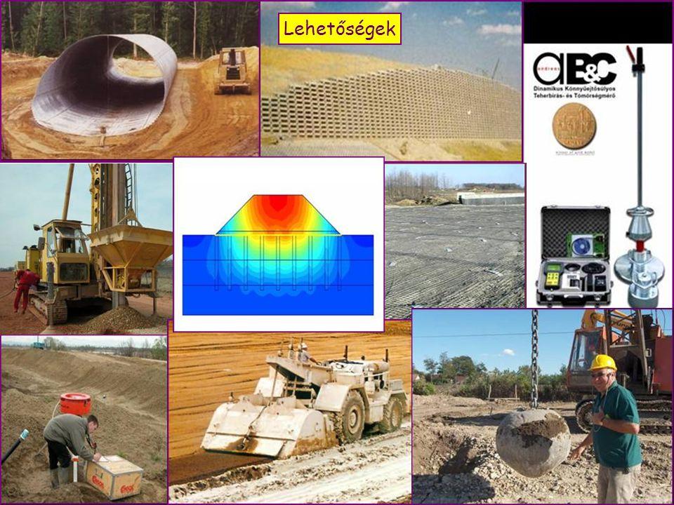 A talajvizsgálatok mélysége Töltés: töltésmagasság és 6,0 m Bevágás: bevágásmélység fele és 3,0 m Támfal:alapszélesség kétszerese Befogott szerkezetszerkezetmagasság E felderítési mélységek növelendők, ha alattuk még kedvezőtlen talaj várható, csökkenthetők, ha már kisebb mélységben (s alattuk) különösen kedvező talajok vannak