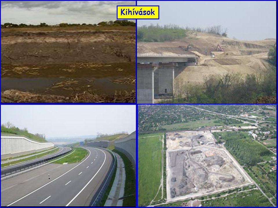 A földműanyagként való felhasználás minősítése M-5 Kezeléssel alkalmassá tehető földműanyagok közé sorolandók –a durva szemcséjű talajok, ha C u < 3, –a vegyes szemcséjű, 15  S 0,063  40 % (és I P  10 %) jellemzőjű talajok (erősen iszapos és/vagy agyagos kavicsok és/vagy homokok), ha w < 8 %, illetve w  18 % –a finom szemcséjű, 10 < I P  25 % jellemzőjű talajok, ha 7 < w < 10 %, illetve 20 < w < 24 %, –a finom szemcséjű, 25<I P  40 % jellemzőjű talajok, ha 8 < w < 12 %, illetve 24 < w < 28 %, –az aprózódásra és mállásra enyhén hajlamos és/vagy változékony szemeloszlású kőzettörmelékek.