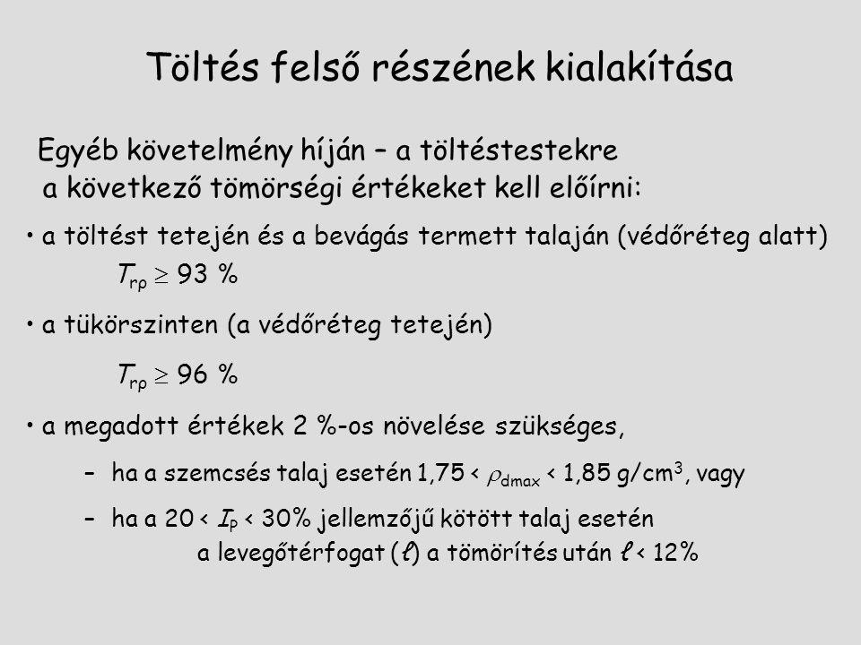 Töltés felső részének kialakítása Egyéb követelmény híján – a töltéstestekre a következő tömörségi értékeket kell előírni: a töltést tetején és a bevágás termett talaján (védőréteg alatt) T rρ  93 % a tükörszinten (a védőréteg tetején) T rρ  96 % a megadott értékek 2 %-os növelése szükséges, –ha a szemcsés talaj esetén 1,75 <  dmax < 1,85 g/cm 3, vagy –ha a 20 < I P < 30% jellemzőjű kötött talaj esetén a levegőtérfogat (ℓ) a tömörítés után ℓ < 12%