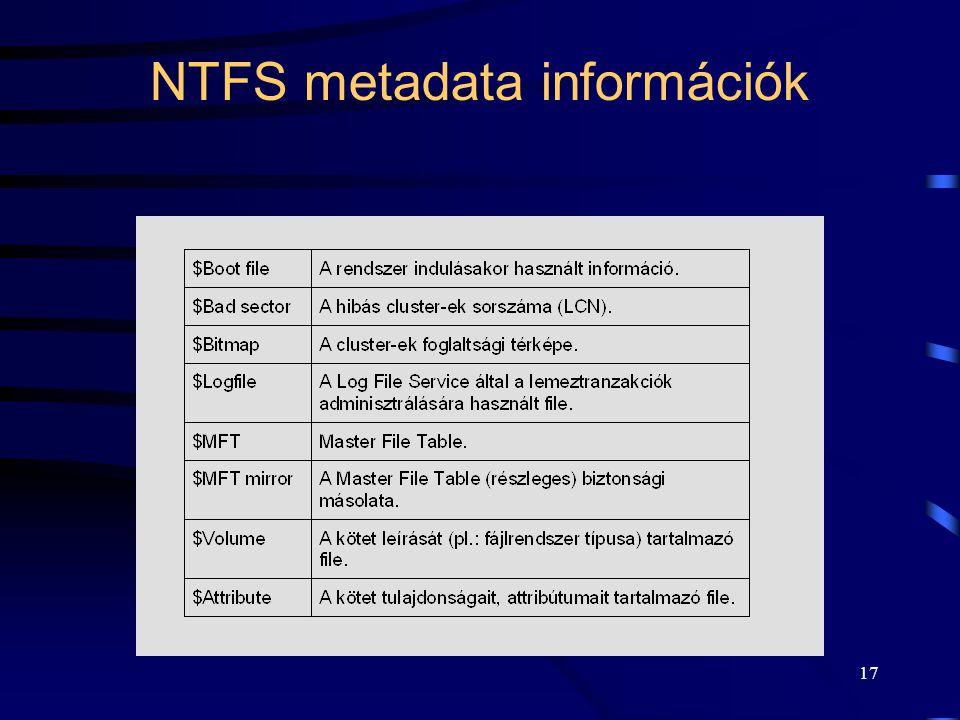 17 NTFS metadata információk