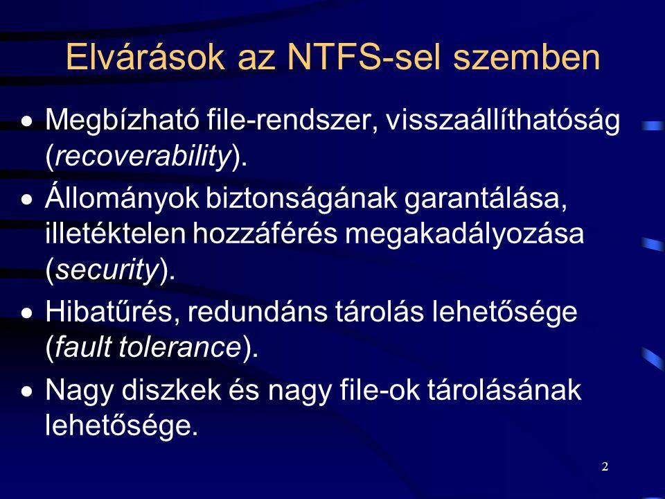 2 Elvárások az NTFS-sel szemben  Megbízható file-rendszer, visszaállíthatóság (recoverability).  Állományok biztonságának garantálása, illetéktelen