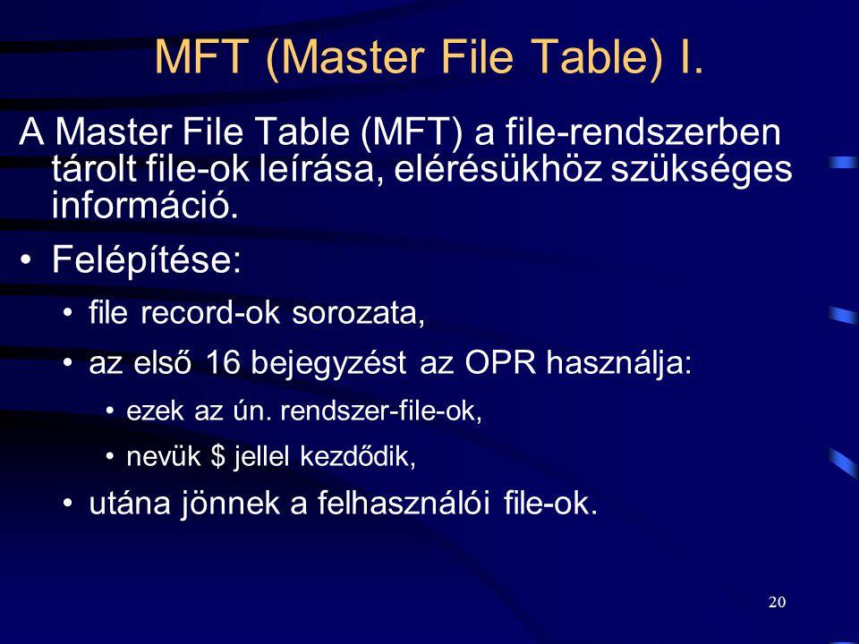 20 MFT (Master File Table) I. A Master File Table (MFT) a file-rendszerben tárolt file-ok leírása, elérésükhöz szükséges információ. Felépítése: file