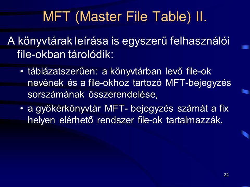 22 MFT (Master File Table) II. A könyvtárak leírása is egyszerű felhasználói file-okban tárolódik: táblázatszerűen: a könyvtárban levő file-ok nevének