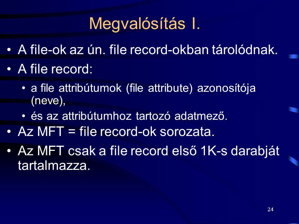 24 Megvalósítás I. A file-ok az ún. file record-okban tárolódnak. A file record: a file attribútumok (file attribute) azonosítója (neve), és az attrib