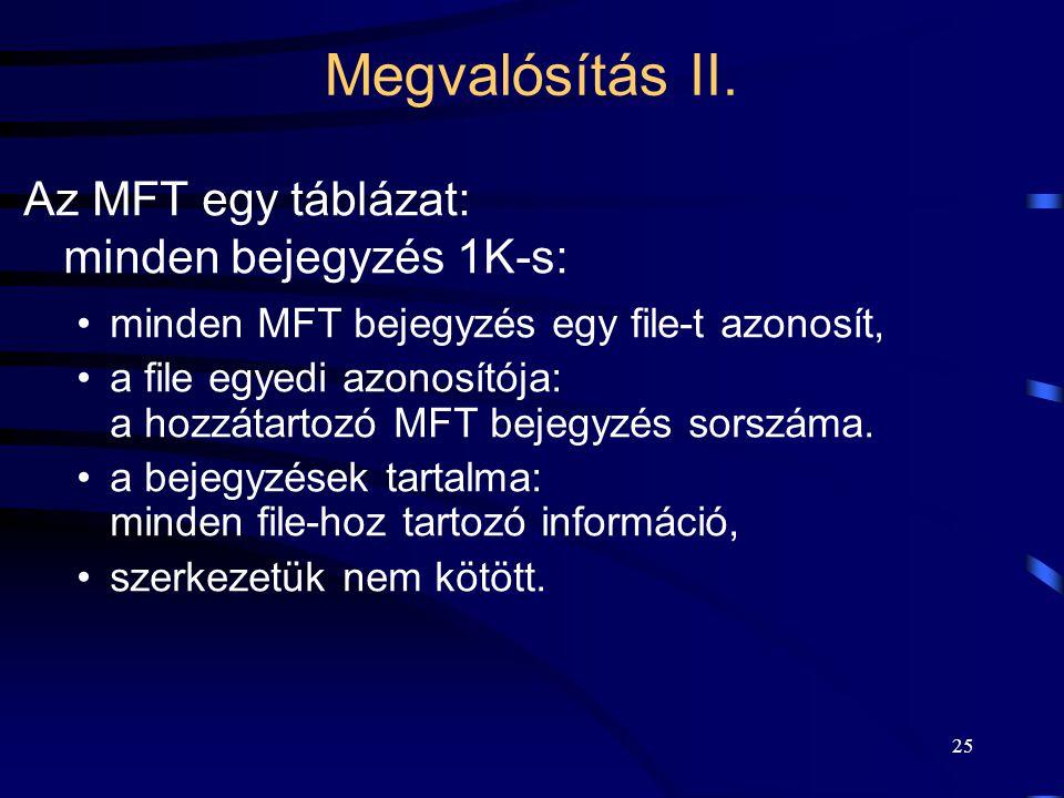 25 Megvalósítás II. Az MFT egy táblázat: minden bejegyzés 1K-s: minden MFT bejegyzés egy file-t azonosít, a file egyedi azonosítója: a hozzátartozó MF