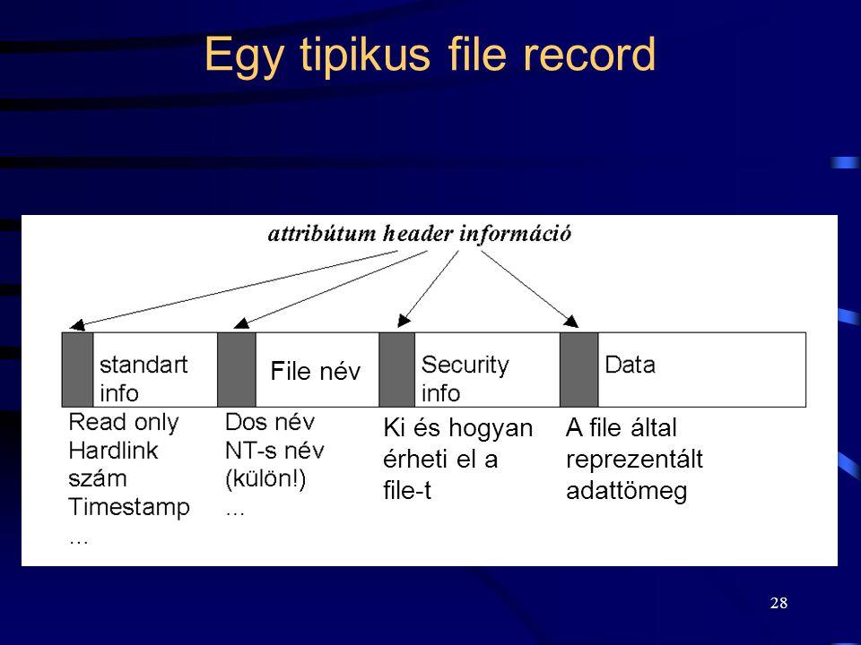 28 Egy tipikus file record File név A file által reprezentált adattömeg Ki és hogyan érheti el a file-t