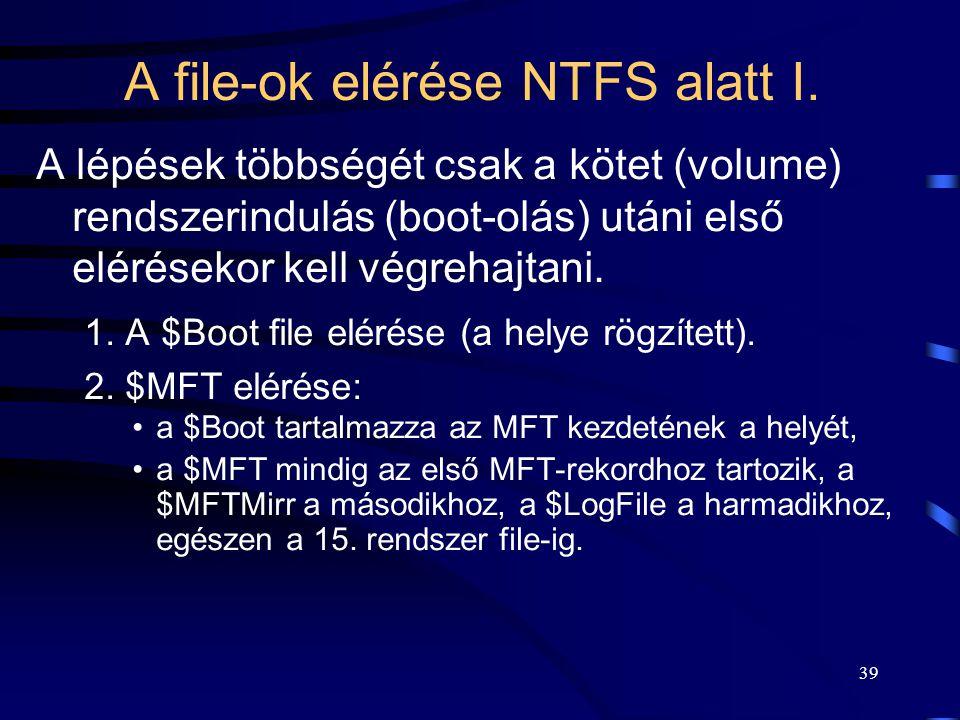 39 A file-ok elérése NTFS alatt I. A lépések többségét csak a kötet (volume) rendszerindulás (boot-olás) utáni első elérésekor kell végrehajtani. 1. A