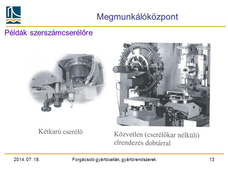 2014. 07. 18.Forgácsoló gyártócellák, gyártórendszerek12 Megmunkálóközpontok Szerszámellátás, szerszámcserélők