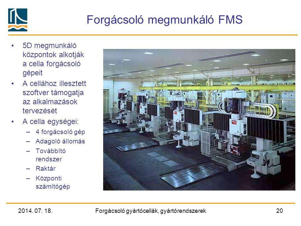 2014. 07. 18.Forgácsoló gyártócellák, gyártórendszerek19 Gyártócellák Eszterga gyártócella (négy tengelyes) (MAZAK)