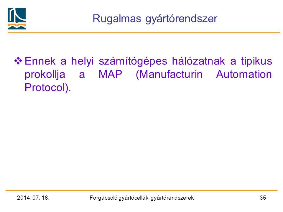 2014. 07. 18.Forgácsoló gyártócellák, gyártórendszerek34 Rugalmas gyártórendszer  Maguk a cellavezérlők is működőképesek, a folyamatirányító számítóg