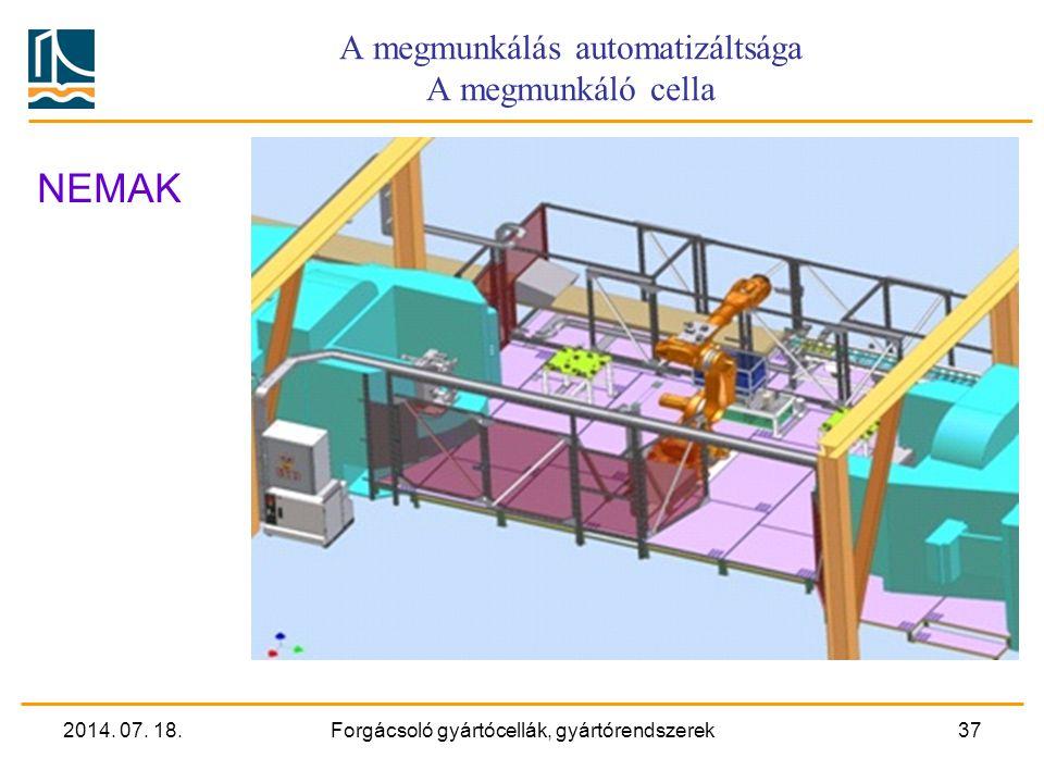 2014. 07. 18.Forgácsoló gyártócellák, gyártórendszerek36 Rugalmas gyártórendszer Hengerfej megmunkáló sor GM