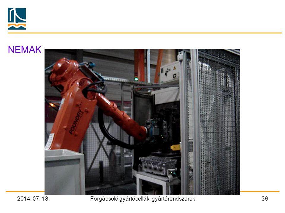 2014. 07. 18.Forgácsoló gyártócellák, gyártórendszerek38 A megmunkálás automatizáltsága A pozicionáló kiemelő