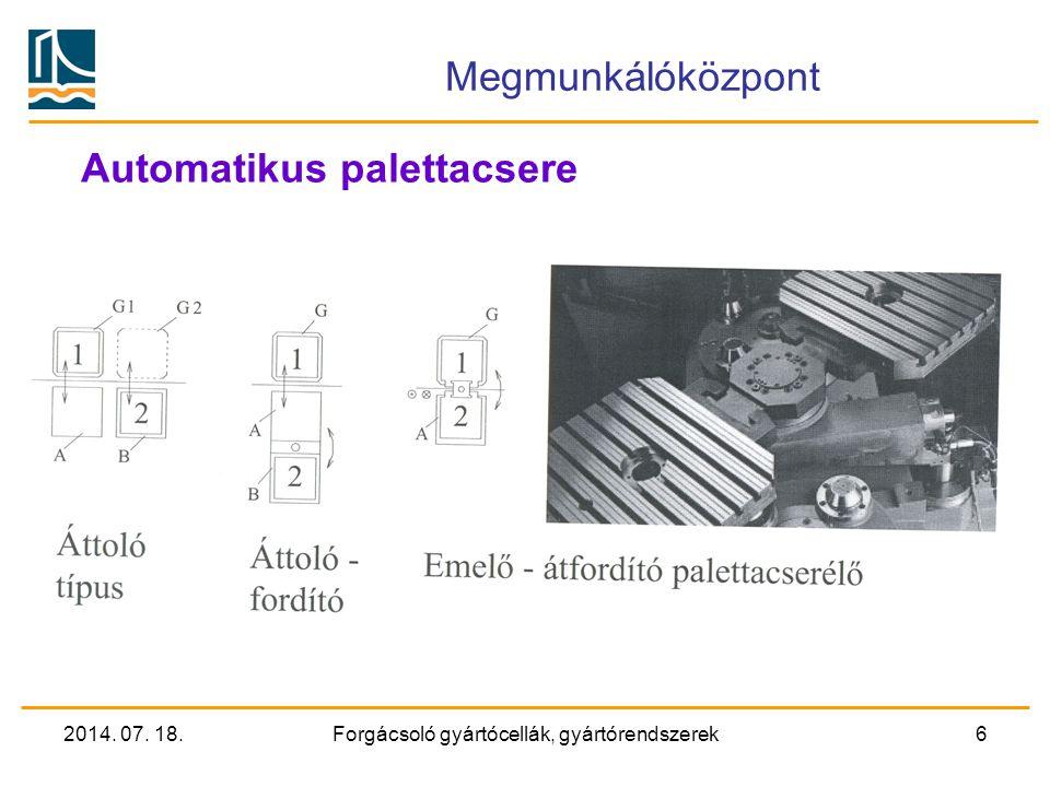 2014. 07. 18.Forgácsoló gyártócellák, gyártórendszerek5 Megmunkálóközpont Paletta tároló elrendezések Megjegyzés: Az 1. paletta a szerszámgépen van