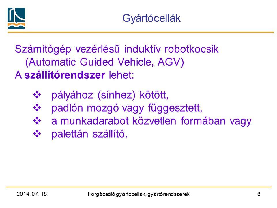 2014. 07. 18.Forgácsoló gyártócellák, gyártórendszerek7 Megmunkálóközpont ISO szabvány szerinti paletta