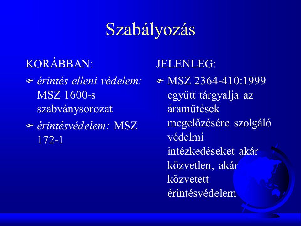 Szabályozás KORÁBBAN: F érintés elleni védelem: MSZ 1600-s szabványsorozat F érintésvédelem: MSZ 172-1 JELENLEG: F MSZ 2364-410:1999 együtt tárgyalja