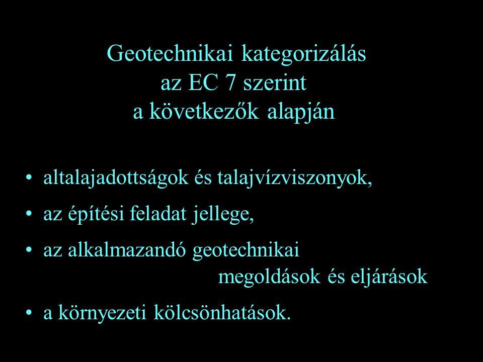 Geotechnikai kategorizálás az EC 7 szerint a következők alapján altalajadottságok és talajvízviszonyok, az építési feladat jellege, az alkalmazandó ge