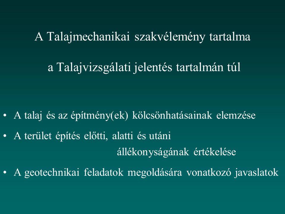 A Talajmechanikai szakvélemény tartalma a Talajvizsgálati jelentés tartalmán túl A talaj és az építmény(ek) kölcsönhatásainak elemzése A terület építé