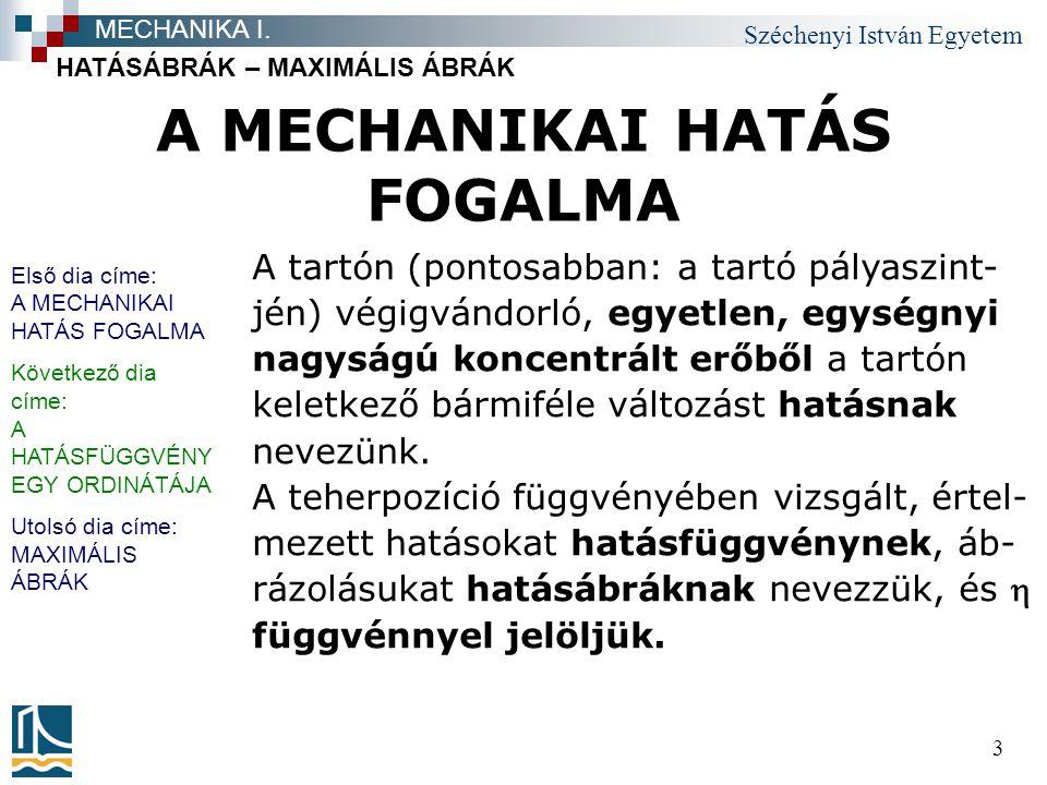 Széchenyi István Egyetem 14 TÁMASZERŐ-HATÁSÁBRÁK HATÁSÁBRÁK – MAXIMÁLIS ÁBRÁK MECHANIKA I.