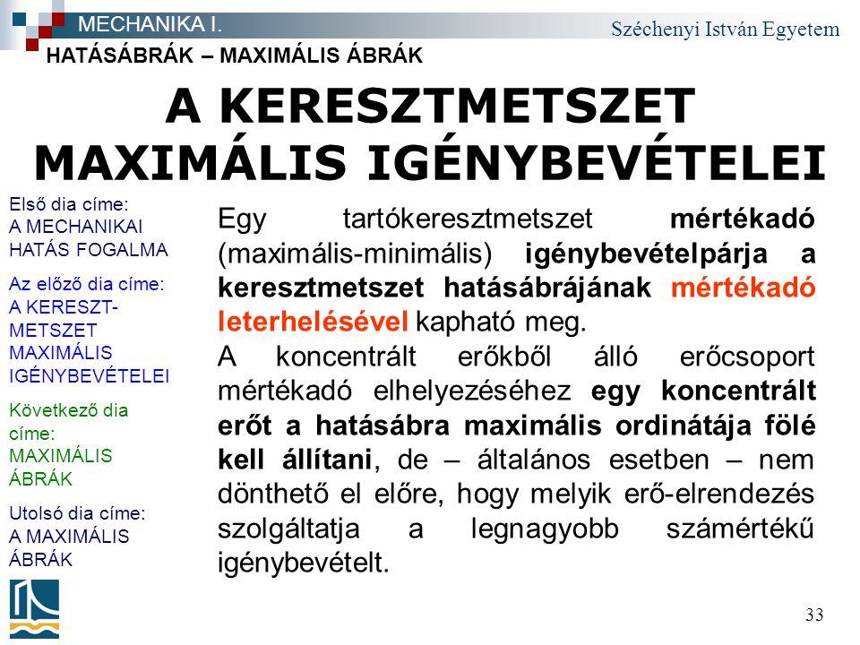 Széchenyi István Egyetem 33 A KERESZTMETSZET MAXIMÁLIS IGÉNYBEVÉTELEI HATÁSÁBRÁK – MAXIMÁLIS ÁBRÁK MECHANIKA I.
