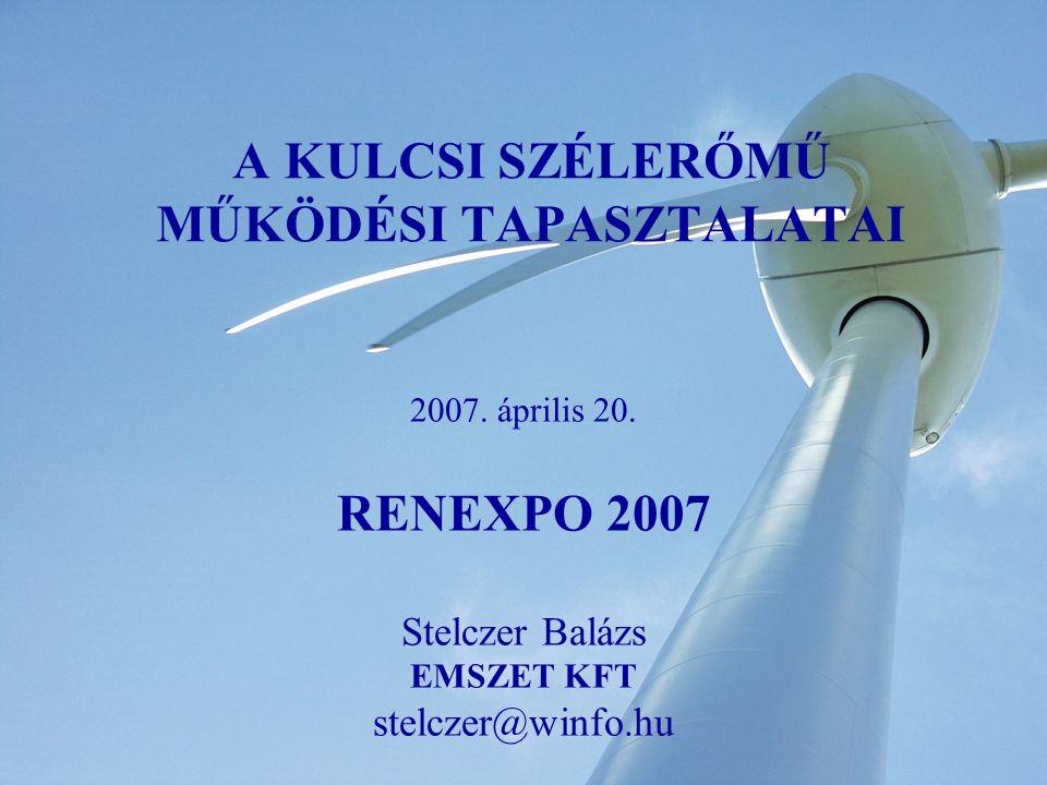 A KULCSI SZÉLERŐMŰ MŰKÖDÉSI TAPASZTALATAI 2007. április 20.