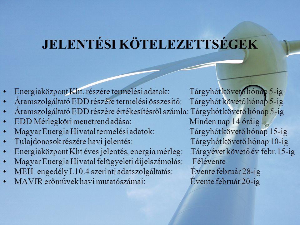 JELENTÉSI KÖTELEZETTSÉGEK Energiaközpont Kht.