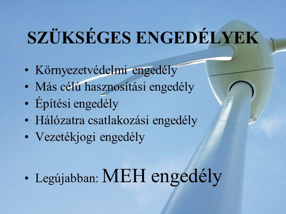 Szélerőművek létesítésének fő feltétele a MEH engedély A VET meghatározta, hogy szélerőművekből származó villamos energia átvételi ára k*23 Ft/kWh, (ahol a k = KSH fogyasztói árindex) Ma ez az összeg: 24,71 Ft/kWh A VET szerinti törvényi árat azok kaphatják, akiknek van a MEH-től kiserőművi összevont engedélyük.