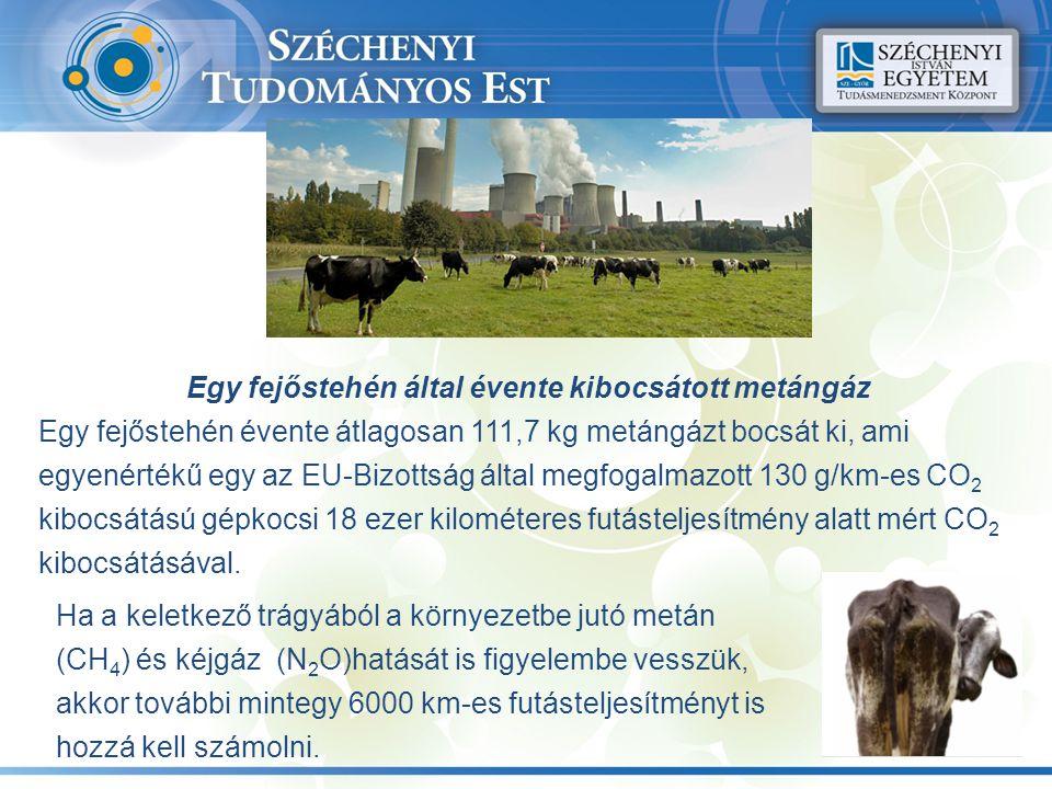 Egy fejőstehén által évente kibocsátott metángáz Egy fejőstehén évente átlagosan 111,7 kg metángázt bocsát ki, ami egyenértékű egy az EU-Bizottság ált