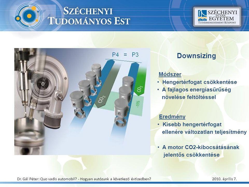 Downsizing Módszer Hengertérfogat csökkentése A fajlagos energiasűrűség növelése feltöltéssel Eredmény Kisebb hengertérfogat ellenére változatlan telj