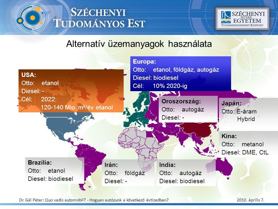 Alternatív üzemanyagok használata USA: Otto: etanol Diesel: - Cél: 2022: 120-140 Mio. m 3 /év etanol Europa: Otto: etanol, földgáz, autogáz Diesel: bi
