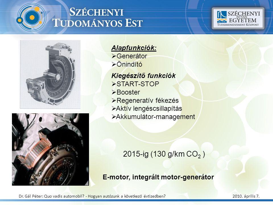2015-ig (130 g/km CO 2 ) E-motor, integrált motor-generátor Dr. Gál Péter: Quo vadis automobil? - Hogyan autózunk a következő évtizedben? 2010. áprili