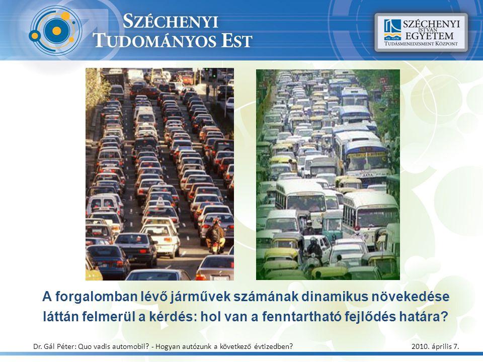 A forgalomban lévő járművek számának dinamikus növekedése láttán felmerül a kérdés: hol van a fenntartható fejlődés határa? Dr. Gál Péter: Quo vadis a