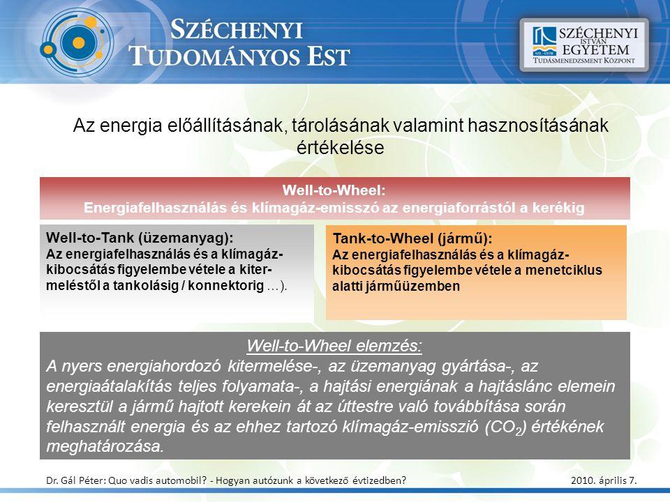 Az energia előállításának, tárolásának valamint hasznosításának értékelése Well-to-Wheel elemzés: A nyers energiahordozó kitermelése-, az üzemanyag gy