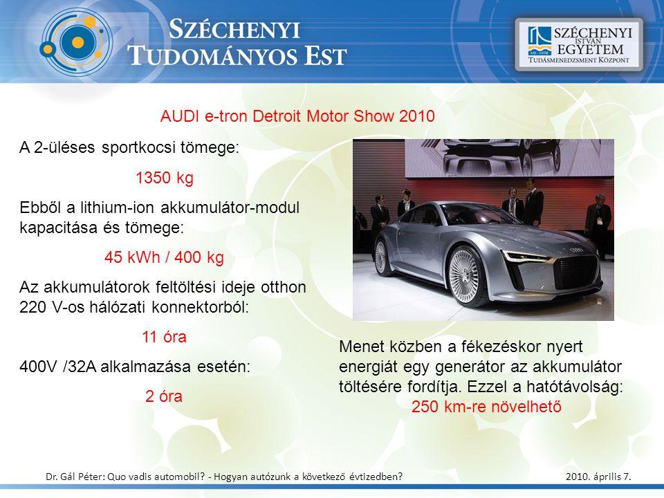 A 2-üléses sportkocsi tömege: 1350 kg Ebből a lithium-ion akkumulátor-modul kapacitása és tömege: 45 kWh / 400 kg Az akkumulátorok feltöltési ideje ot