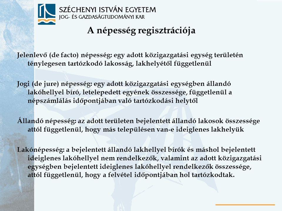 A népesség regisztrációja Jelenlevő (de facto) népesség: egy adott közigazgatási egység területén ténylegesen tartózkodó lakosság, lakhelyétől függetl