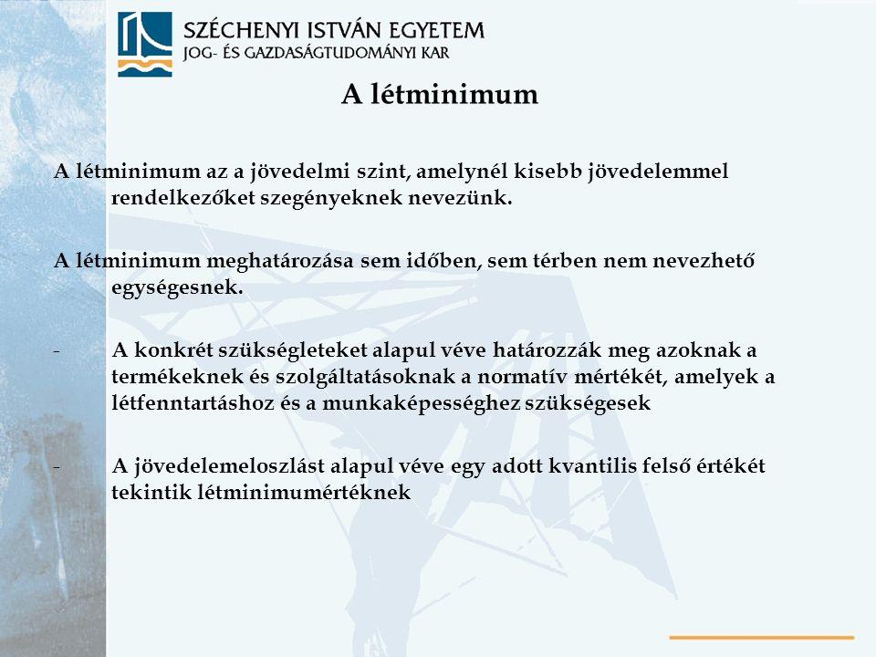 A létminimum A létminimum az a jövedelmi szint, amelynél kisebb jövedelemmel rendelkezőket szegényeknek nevezünk. A létminimum meghatározása sem időbe
