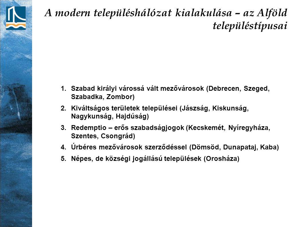 A modern településhálózat kialakulása – az Alföld településtípusai 1.Szabad királyi várossá vált mezővárosok (Debrecen, Szeged, Szabadka, Zombor) 2.Ki