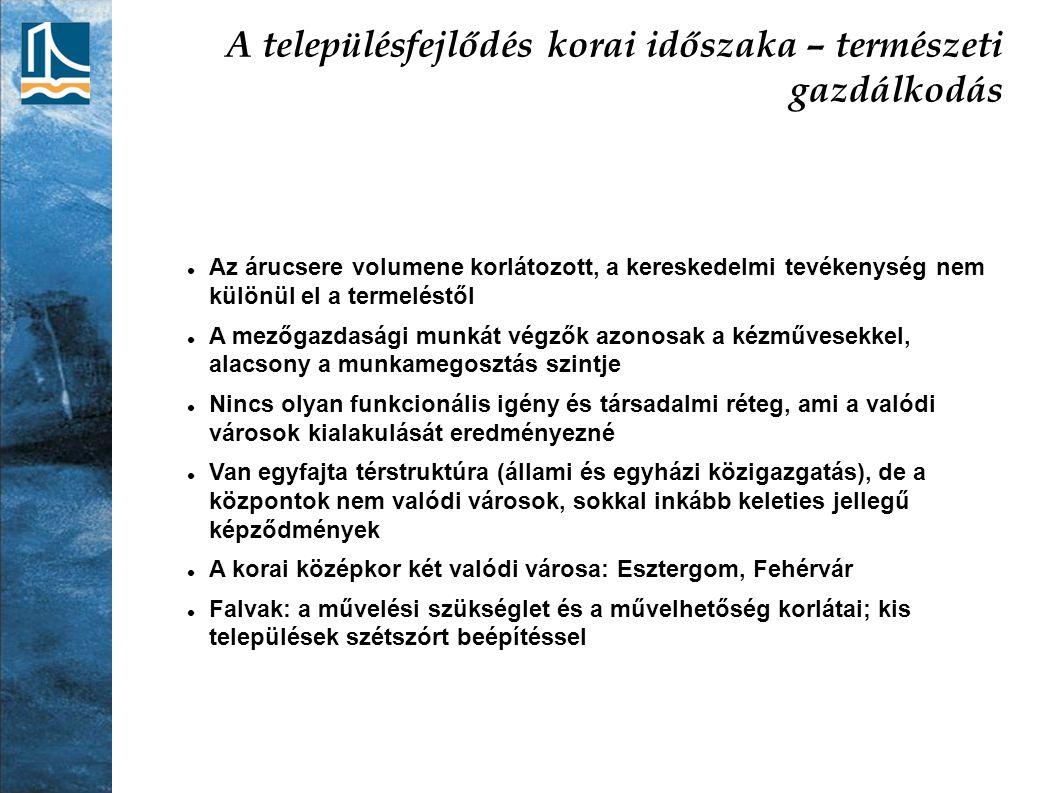 A modern településhálózat kialakulása – a polgári korszak Megszűnnek a feudális jogállások A gazdaságban érvényesülnek a szabad verseny viszonyai Az ipar és a közlekedés új telepítő tényezőket hoz létre A birtokviszonyok rendezése felgyorsítja a migrációt Budapest világvárosi fejlődése – a Monarchia társközpontja Vasútépítések állami támogatása Vízrendezési munkálatok Hitelrendszer kialakulása Új agrárkonjunktúra Foglalkozási átrétegződés