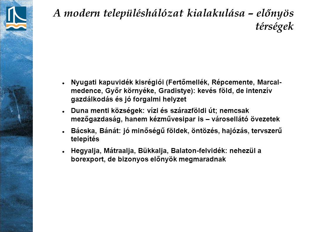 A modern településhálózat kialakulása – előnyös térségek Nyugati kapuvidék kisrégiói (Fertőmellék, Répcemente, Marcal- medence, Győr környéke, Gradist
