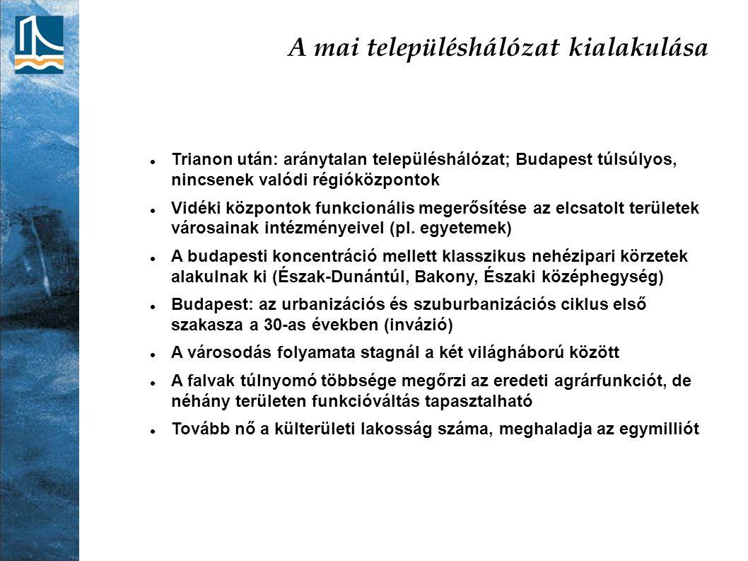 A mai településhálózat kialakulása Trianon után: aránytalan településhálózat; Budapest túlsúlyos, nincsenek valódi régióközpontok Vidéki központok fun