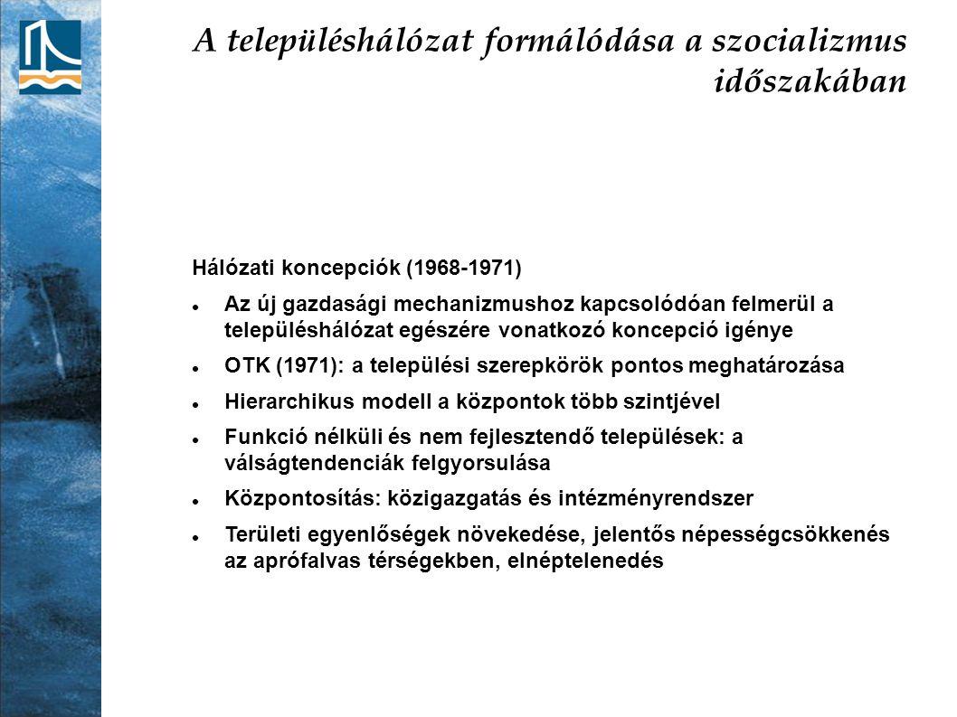 A településhálózat formálódása a szocializmus időszakában Hálózati koncepciók (1968-1971) Az új gazdasági mechanizmushoz kapcsolódóan felmerül a telep