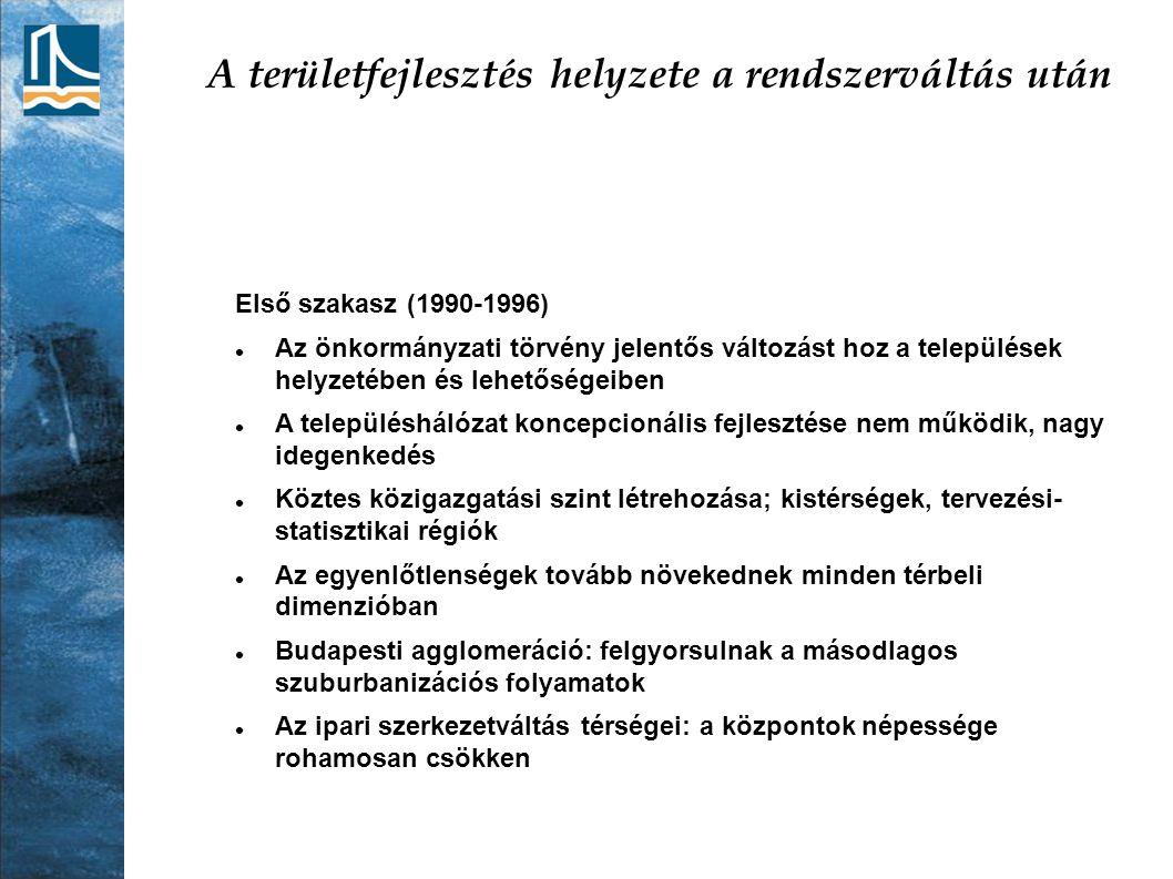 A területfejlesztés helyzete a rendszerváltás után Első szakasz (1990-1996) Az önkormányzati törvény jelentős változást hoz a települések helyzetében
