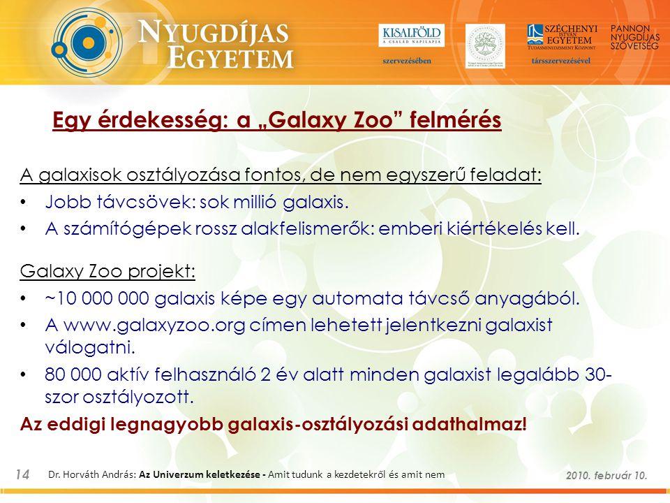 """14 2010. február 10. Dr. Horváth András: Az Univerzum keletkezése - Amit tudunk a kezdetekről és amit nem Egy érdekesség: a """"Galaxy Zoo"""" felmérés A ga"""