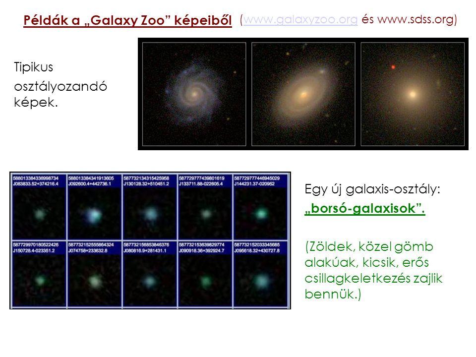 """Példák a """"Galaxy Zoo"""" képeiből Tipikus osztályozandó képek. (www.galaxyzoo.org és www.sdss.org)www.galaxyzoo.org Egy új galaxis-osztály: """"borsó-galaxi"""