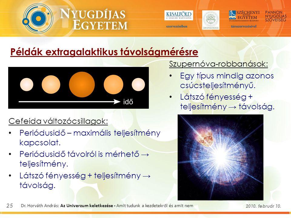 25 2010. február 10. Dr. Horváth András: Az Univerzum keletkezése - Amit tudunk a kezdetekről és amit nem Példák extragalaktikus távolságmérésre Cefei