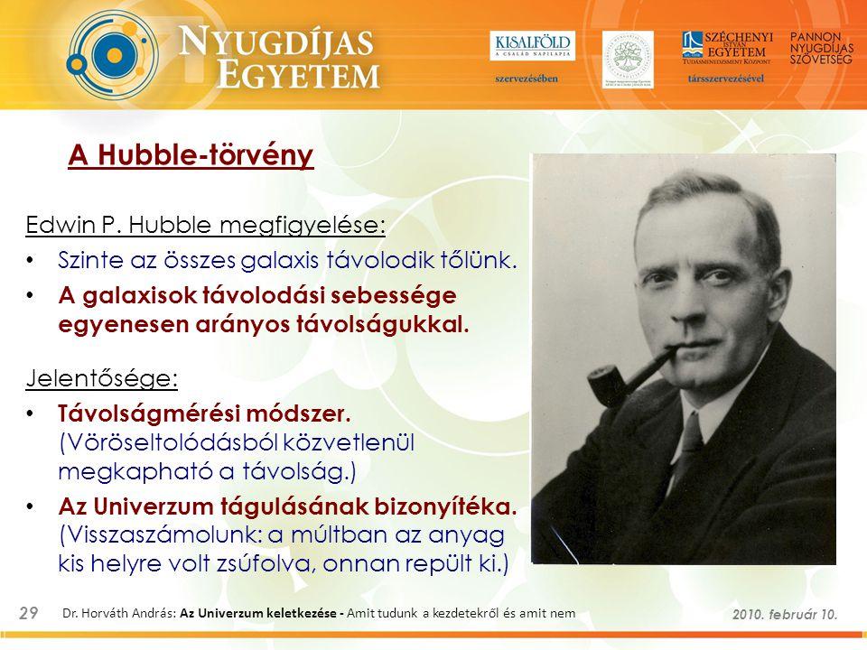 29 2010. február 10. Dr. Horváth András: Az Univerzum keletkezése - Amit tudunk a kezdetekről és amit nem A Hubble-törvény Edwin P. Hubble megfigyelés