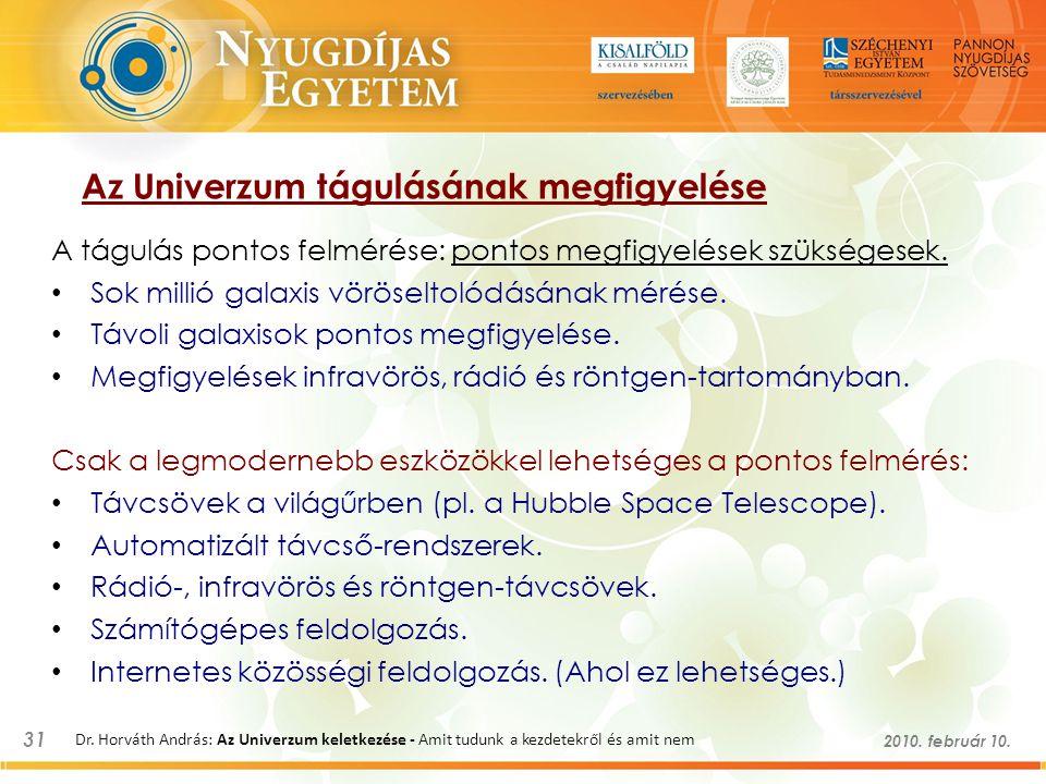 31 2010. február 10. Dr. Horváth András: Az Univerzum keletkezése - Amit tudunk a kezdetekről és amit nem Az Univerzum tágulásának megfigyelése A tágu