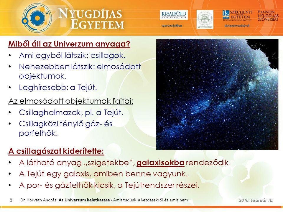 5 2010. február 10. Dr. Horváth András: Az Univerzum keletkezése - Amit tudunk a kezdetekről és amit nem Miből áll az Univerzum anyaga? Ami egyből lát